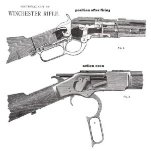 Sectional cut of the Winchester rifle